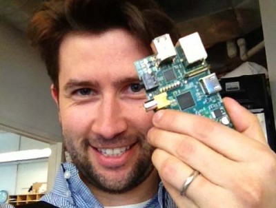 Matt holding a Raspberry Pi board