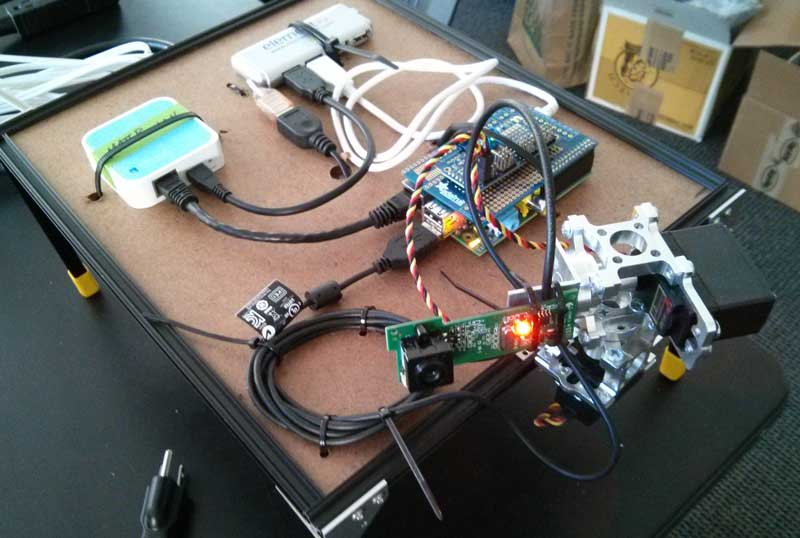 The Raspberry Pi server with pan tilt camera